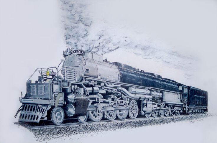 North American steam loco, Big Boy  It is actually done in colour pencil, not that you'd know apart from the head light