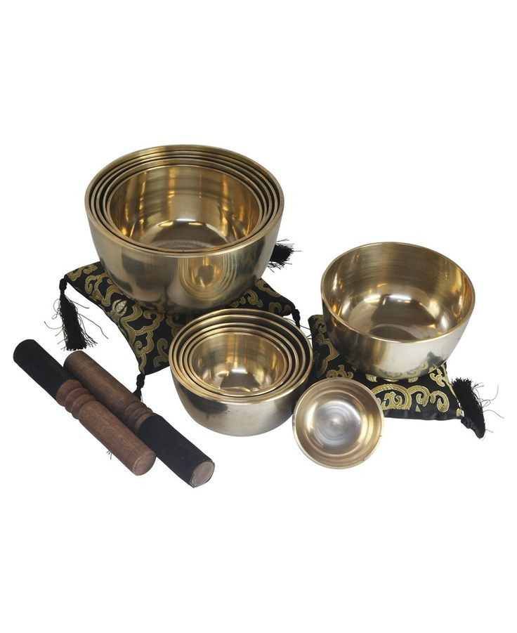 Set of 12 Tibetan singing bowls made in Nepal. Beautiful meditation supplies available at BuddhaGroove.com.