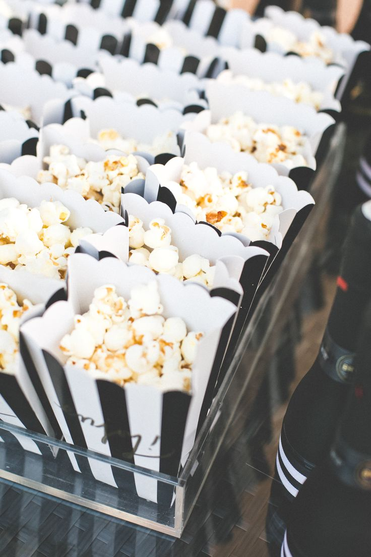 popcorn favors in bw striped boxes...ADD diy ♥❤ www.customweddingprintables.com #customweddingprintables