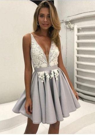V-neck Lace Sleeveless Cute Short Homecoming Dress