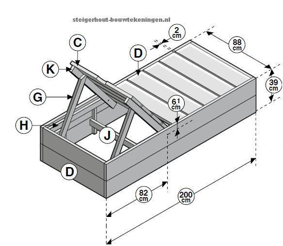 Doe het zelf #tuinbed #bouwtekening voor een tuin ligbed van steigerhout. >> Wordt dit jouw bed? http://bit.ly/1fauE1N