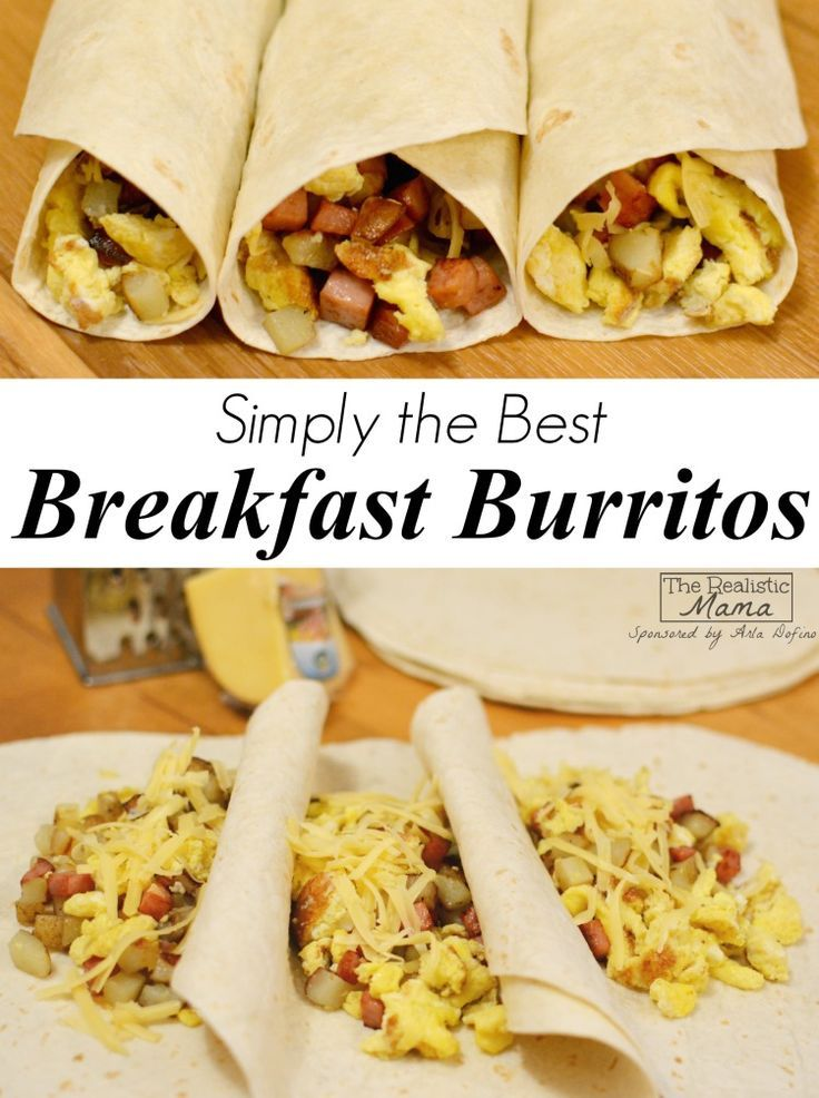 Breakfast Burrito Recipe - an easy make ahead breakfast dish complete with eggs, potatoes, meat, and cheese. You'll LOVE this recipe!