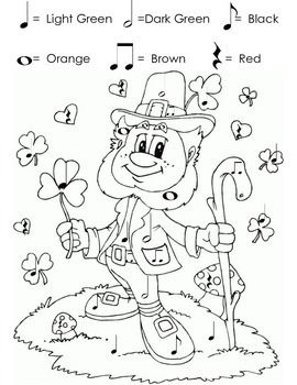Color by Note Worksheet for St. Patrick's Day
