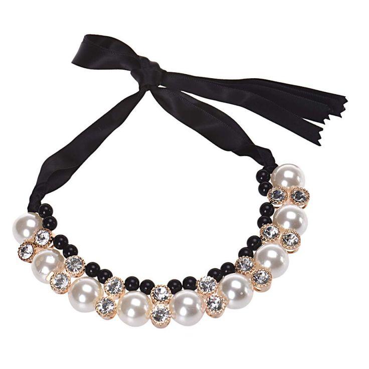ON SALE - Double Row Adjustable Pearl Crystal Rhinestone Adjustable Necklace  Headband Black