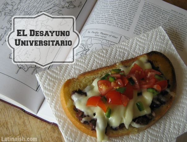 """El Desayuno Universitario"" (The University Student Breakfast). It's made of  french bread, cheese, beans, and a fresh salsa."