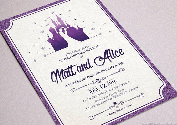 Fairytale Wedding / Disney wedding invitations / Customised