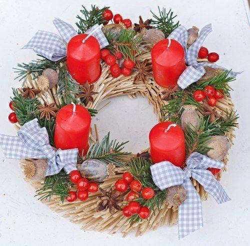 vánoce na chalupě - adventní věnec