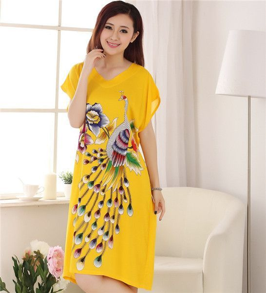 Classic Black Chinese Women's Cotton Bathrobe Gown Nightgown Summer Casual Home Dress Sleepwear Long Nightdress One Size A-132