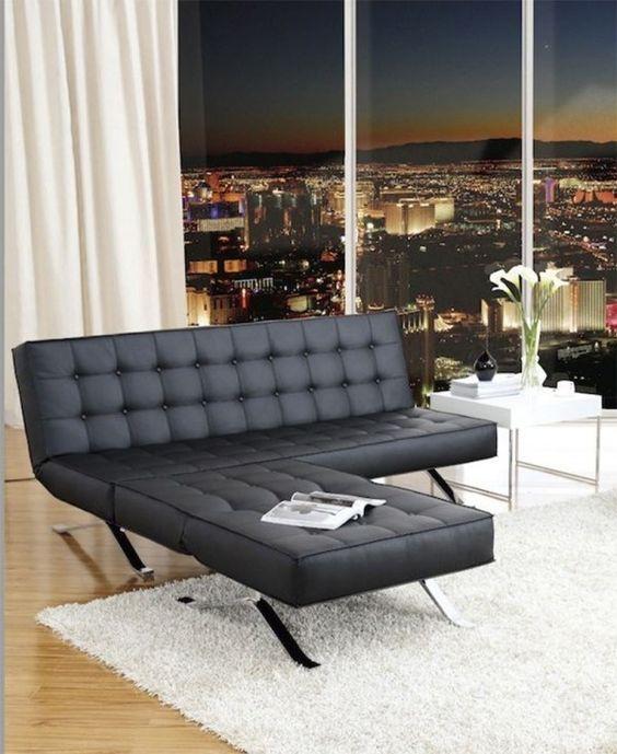 Canape lit simili cuir noir design