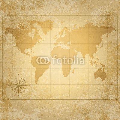 Mapa świata w stylu vintage z różą wiatrów - fotoroleta