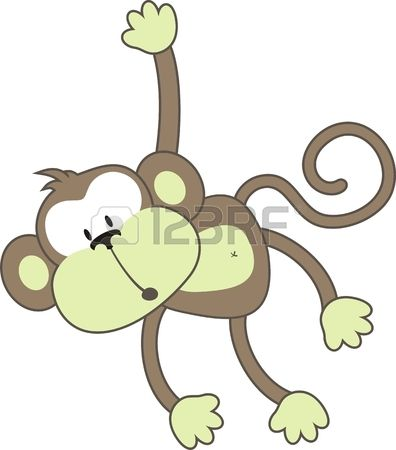 isolated cartoon monkey individual objects very easy to edit Stock Vector