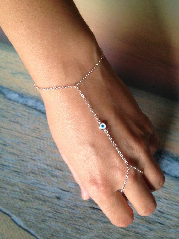 Sterling  Silver Eye of Protection Slave Bracelet on Etsy, $34.00 www.theartsynomad.etsy.com ✨
