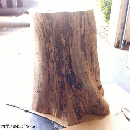 sanded tree stump table
