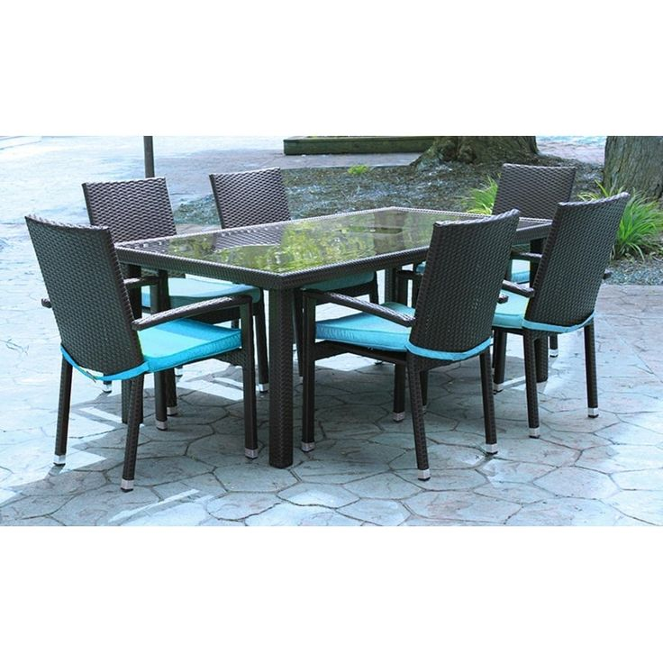 7 Piece Black Resin Wicker Outdoor Furniture Patio Dining Set   Blue  Cushions, Patio