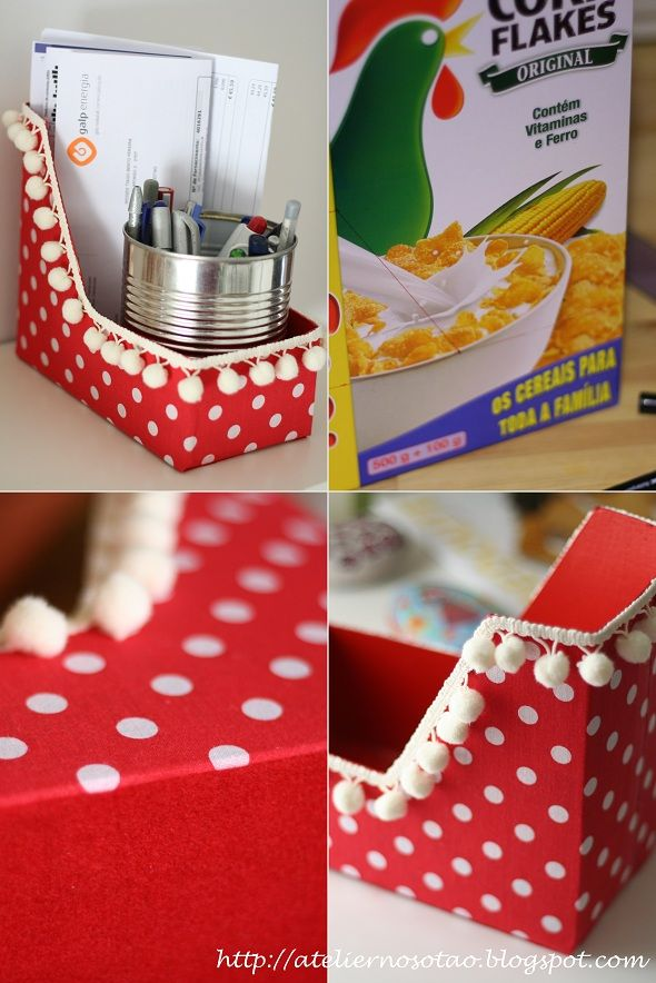 I like this but I could do without the pom-pom trim. I think it would make these too bulky on the shelf. Remember, you can get 2 of these out of each cereal box! Turn the box on it's side for a longer (deeper) box.