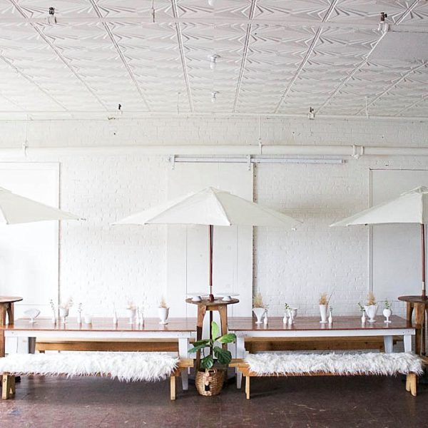 Our Heritage Farm Tables anchor this Al-Fresco Inspired design.  Great for an outdoor bridal or baby shower, BBQ or rehearsal dinner! Fun canvas umbrellas from Rent-E-Quip in RVA!