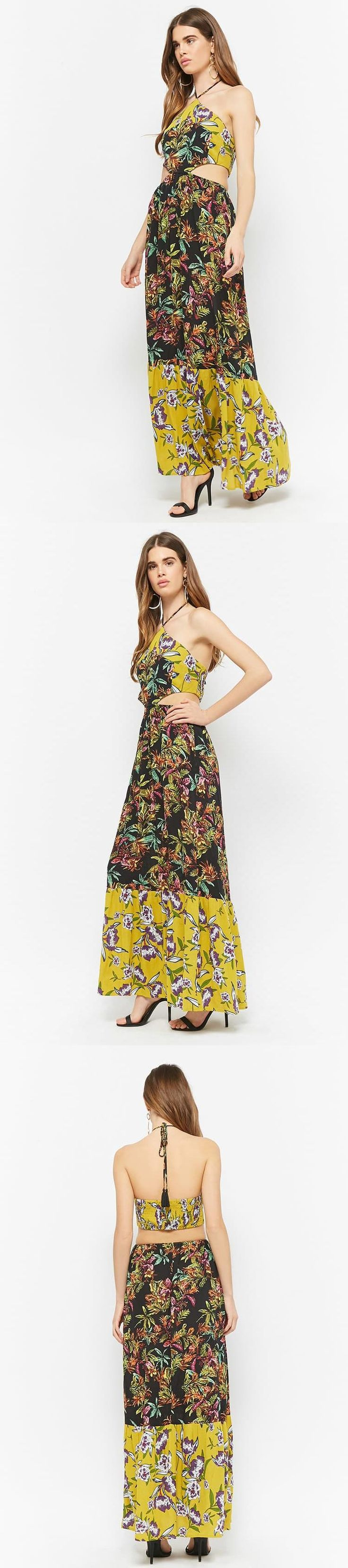 Floral Halter Maxi Dress // 45.00 USD // Forever 21