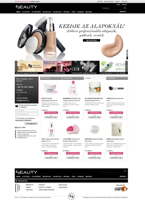 Beauty.hu webshop design