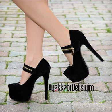 Lermomi Süet Siyah Platform Topuklu Ayakkabı