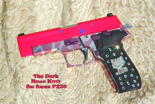 Hello Kitty Sig Sauer P226 – According to the maker's website, customization of this product was halted in May 2008 due to complaints from Sanrio, owners of the Hello Kitty brand. Not including the cost of the gun, this particular custom job was $2,100 with Swarovski Crystal on the grips.