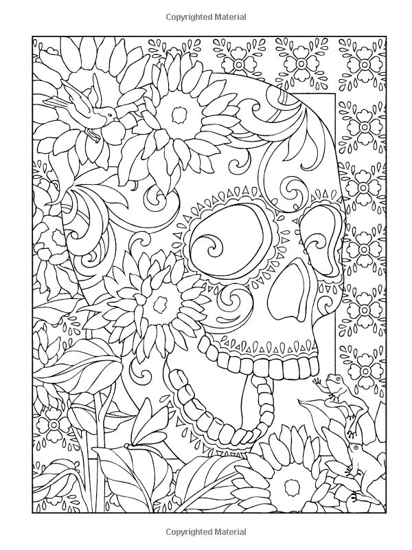 Creative Haven Day Of The Dead Coloring Book Halloween Colouring PagesAdult