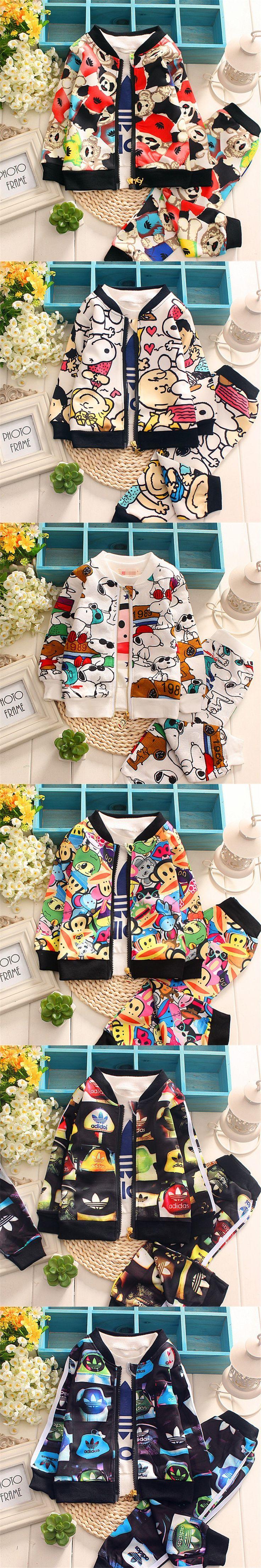 2015 New Brand Boys Clothes Autumn Cute Animals Baby Boys Clothing Set Kids Baby Clothes Boys Coats Jackets+Pant Sport Suit Sets