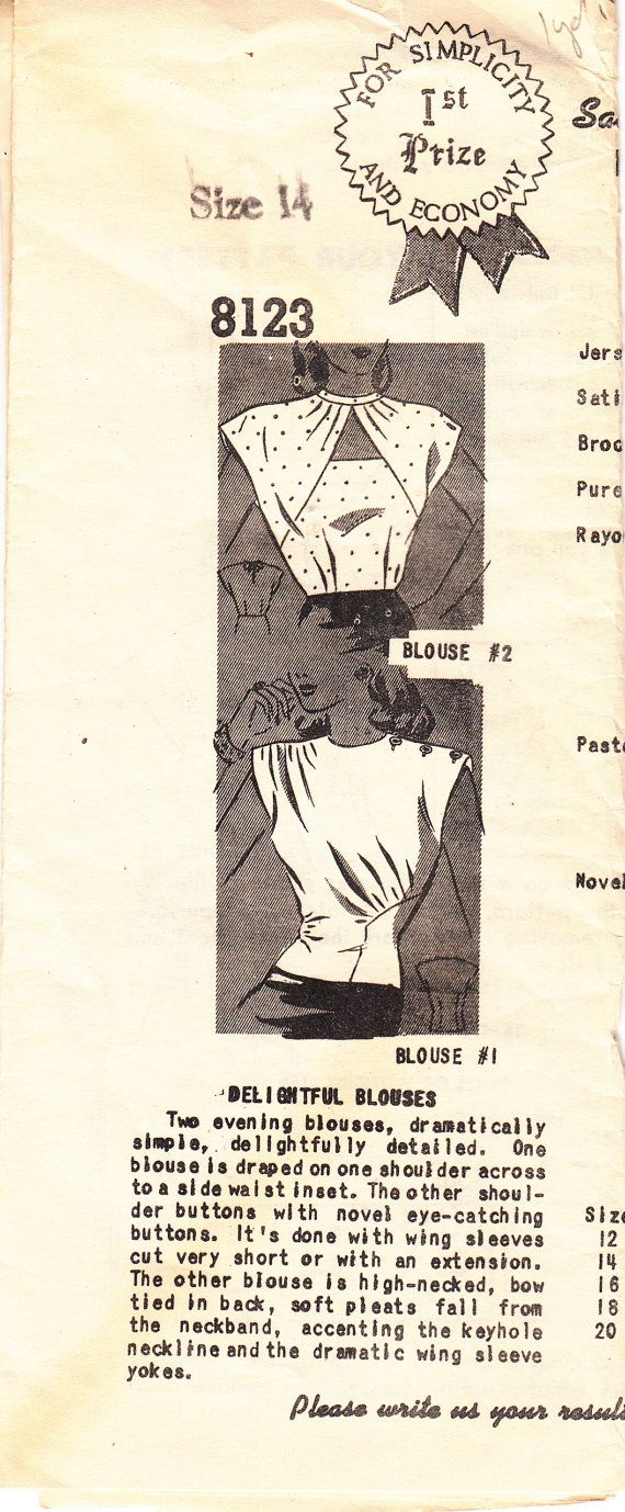 Vintage 40s EVENING BLOUSES Sewing Pattern Simple by HoneymoonBus, $17.99