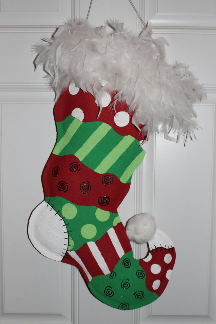 Funky christmas stocking burlap door hanger via