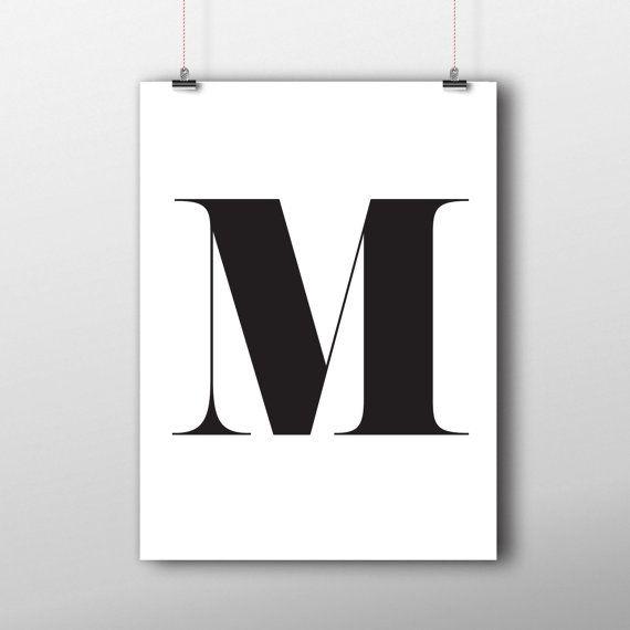 M letter printable home decor monogram initial print for Letter m home decor