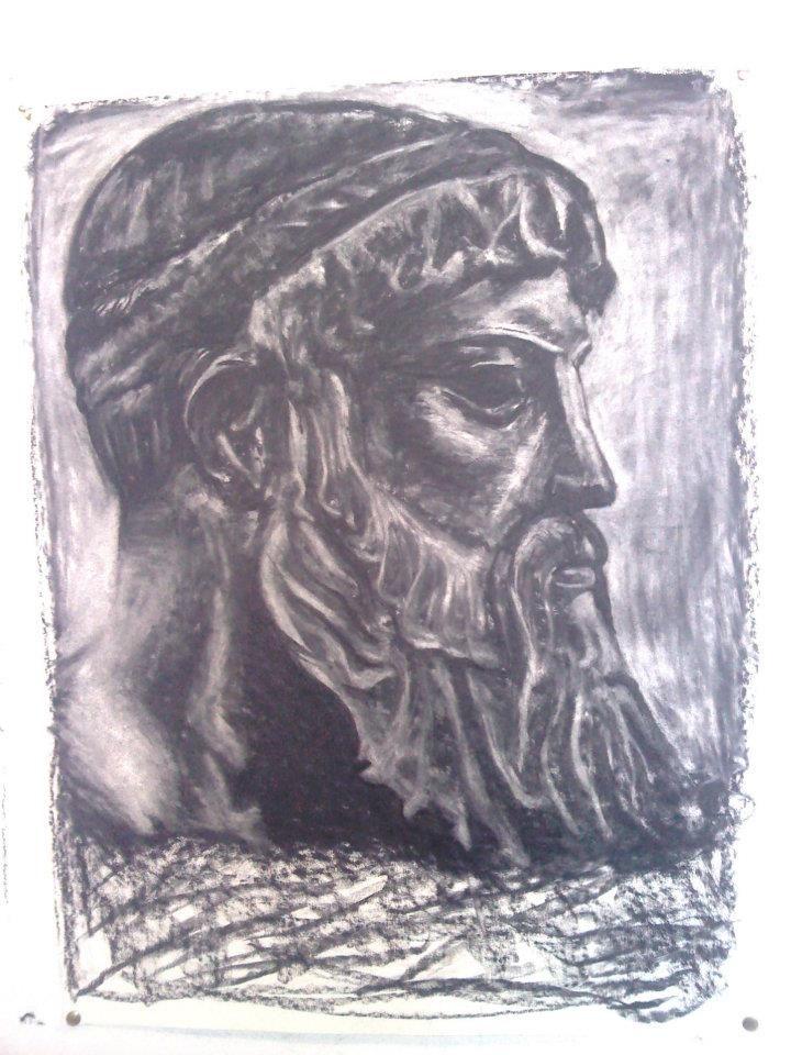 ARTWORK:(drawing) Erasure technique experiment, classical greek bust