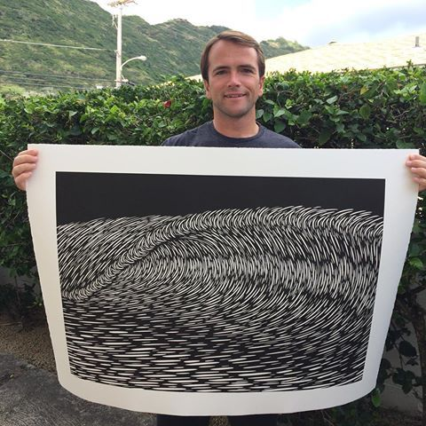 A repost of myself and 'Gravitation' - an original woodcut print that is available framed at the @polugallery. On Friday, the 17th, I'll be giving a presentation at the @honolulumuseum school. I'm one of 10 or so presenters in an event called Pecha Kucha, hope to see you there. More details to follow.. #relief #printmaking #woodcut #woodblockprint #carve #wood #ink #print #waves #surfartist #surf #sea #stoked #printmaker #oahu #hawaii #honlolumuseumofart