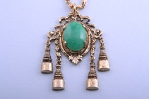 Gilt 1960's Pendant  With Tassles And Green Stone