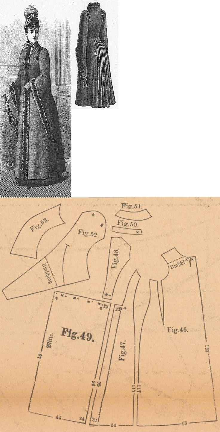 Der Bazar 1889: Greyish-blue cloth wintertime cape; 46. front part, 47. side gore, 48. back part, 49. back pleated part, 50. cuff in half size, 51. collar in half size, 52. and 53. sleeve parts