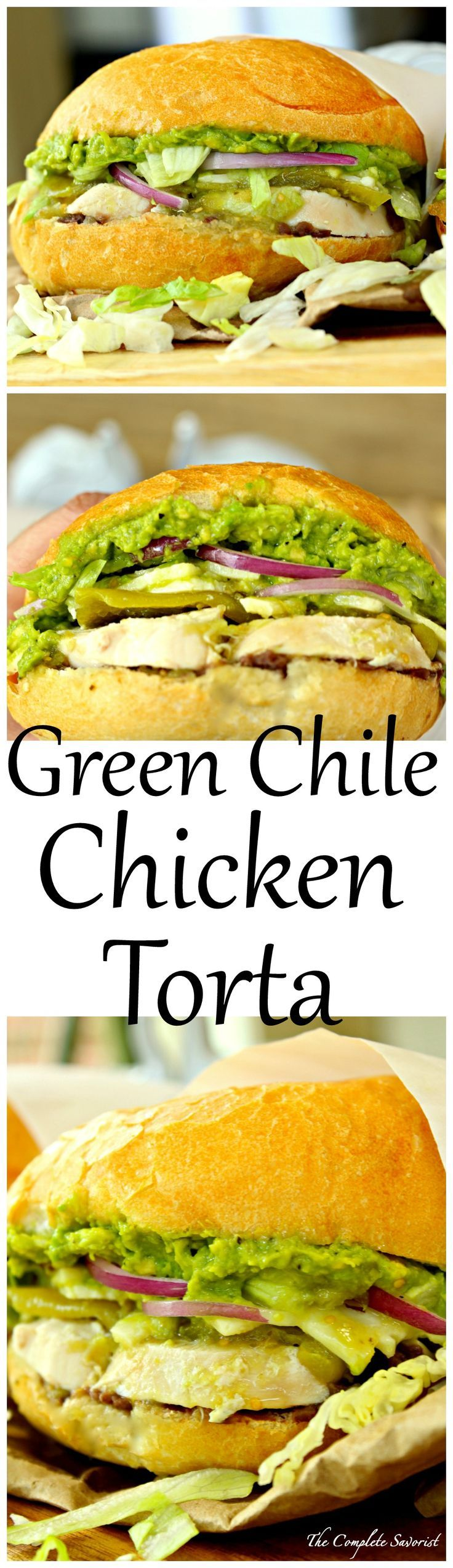 Green Chile Chicken Tortas ~ Mexican-style sandwiches loaded with chicken, green chile peppers, refried black beans, cheese, and avocado spread; hearty, delicious, and affordable