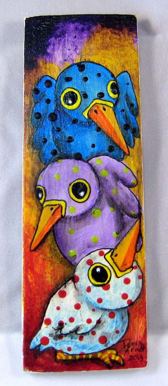 Three Whimsical birds by PhantomWhispers on Etsy, $45.00