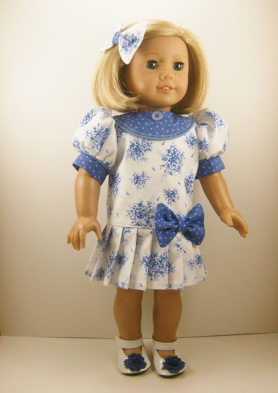 """Made For American Girl Doll Other 18"""" Dolls Clothes Short Sleeved Dropped Waist Dress Flowers and Dots and Matching Hair Bow OOAK"""