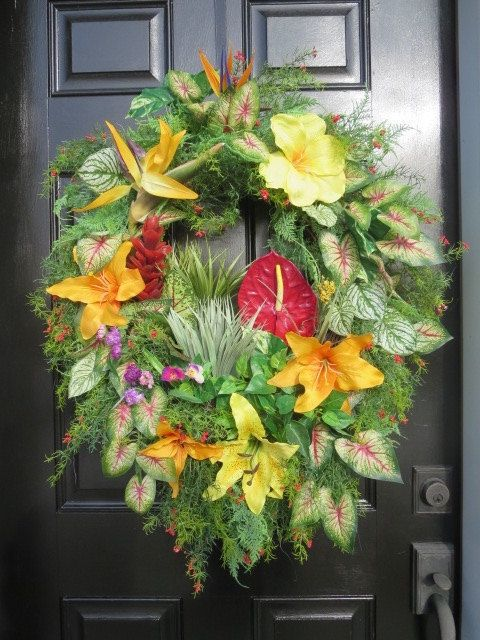Spring summer Front Door Wreath Tropical by hollyhillwreaths