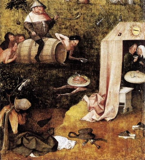 """""""Allegory of Gluttony and Lust""""  Hieronymus Bosch - Oil  Allegory of Gluttony and Lust is a Hieronymus Bosch painting made sometime between 1490 and 1500. It is currently in the Yale University Art Gallery in New Haven, Connecticut. This painting is the left inside bottom panel of a divided triptych. The other existing portions of the triptych are The Ship of Fools and Death and the Miser."""