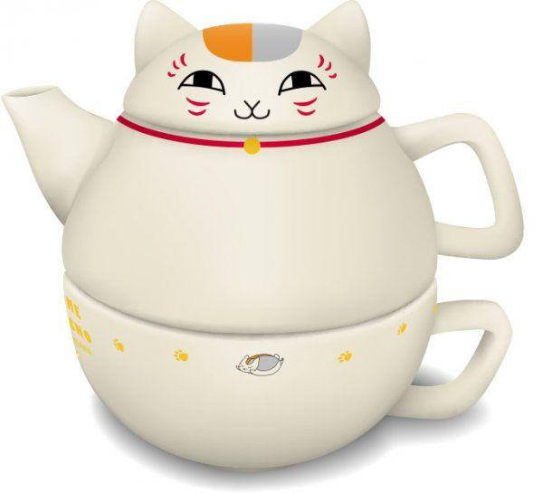 Nyanko-sensei on a little teapot, short and stout - SGCafe