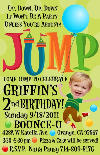 Are you having a birthday party at a Jump House like Bounce-U and you refuse to send out those awful cheap invites they give you? Then you need to order this adorable Jumpie birthday invitation and send out your party info in style!