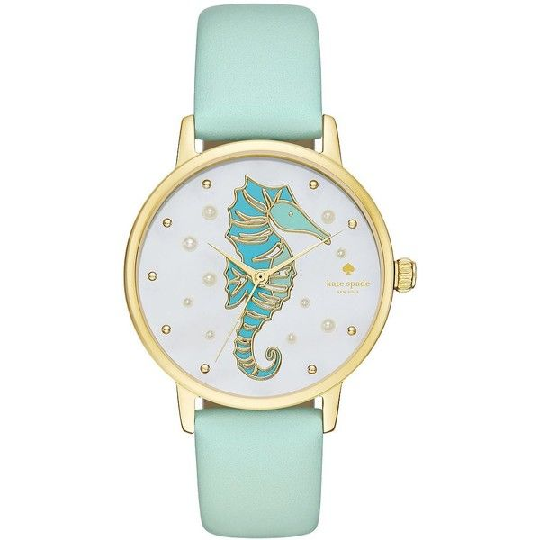Kate Spade New York Sea Horse Stainless Steel and Vachetta Leather... (9,105 PHP) ❤ liked on Polyvore featuring jewelry, watches, teal, bezel watches, seahorse jewelry, water resistant watches, kate spade jewelry and bezel jewelry