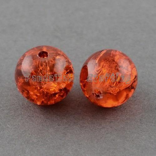 1 прядь DarkOrange прозрачный треск стекла круглый бусины strands, 4 мм ; отверстие : 1.1 ~ 1.3 мм ; около 200 шт. / strand, 31.4