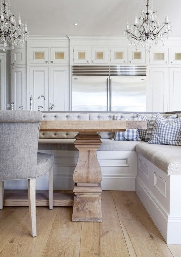 Kitchen Sophistication.  Now this is an elegant kitchen…..so sophisticated really. The chandeliers over this huge island and rustic table. Amazing cabinets and woodwork that is timeless in colour and style. …. and so roomy. I could really cook in this beauty! via Hayburn and Company
