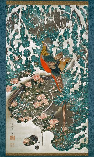 #19 Golden Pheasants in Snow, Colorful Realm, Japanese Bird-and-Flower Paintings by Ito Jakuchu
