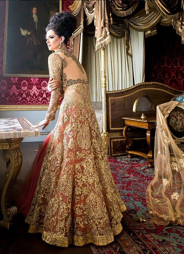 8 Beautiful Pakistani Wedding Dresses By Mongas Traditional Peach