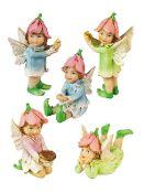 Set of 5 Petal Fairies for Miniature Fairy Gardens - EXCLUSIVE