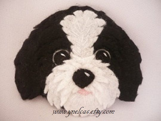 Felt Dog ornament - Shih tzu felt dog - personalized ornament - Christmas ornament