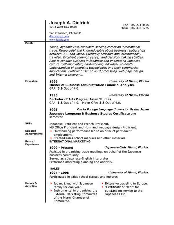 Ms Word Resume Template. Professional Resume Templates Free