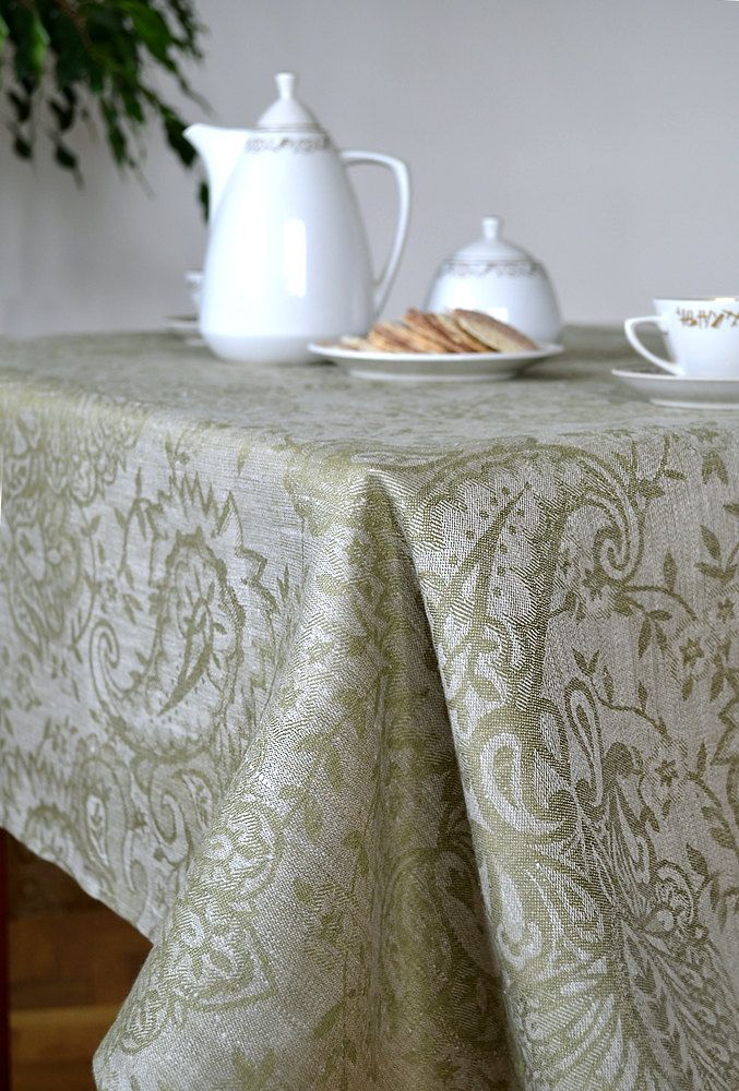 Linen Tablecloth, Olive Green Tablecloth, Wide Tablecloth, Damask Tablecloth,  Luxury Tablecloth For