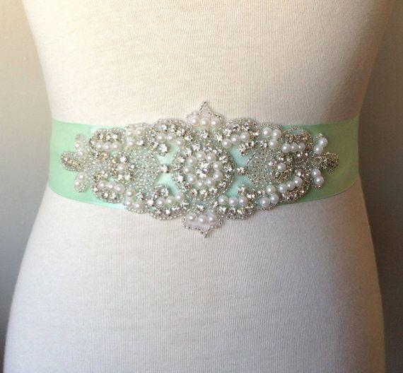 Mint Belt-Light Mint Sash-Bride Belt-Green Pearl Sash-Mint Bridal Sash-Bridesmaid Sash-Rhinestone Sash-Rhinestone Pearl Applique Sash